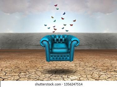 Surrealism. Blue armchair in arid land. 3D rendering