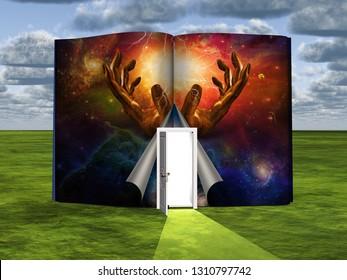 Surrealism. Book with opened door and hands of God. 3D rendering