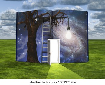 Surrealism. Book with opened door and old tree with light bulb. 3D rendering