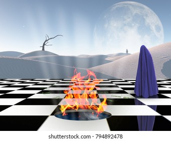 Surrealism. Chessboard with burning portal to another dimension. Lonely man in a distance. Figure of man covered by purple cloth. White sand dune, giant moon at the horizon. 3D rendering