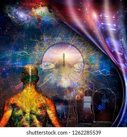 Surrealism. Different thoughts in men's heads. Man with weird demonic eyes on skin. Figure of man on road to Heaven. Warped space. 3D rendering