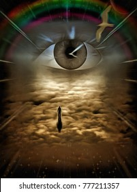 Surrealism. Figure of man goes to God's Eye . Clock Face, rainbow and bird in the sky. 3D rendering