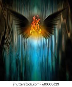 Surrealism. Fire between black wings.   3d Rendering