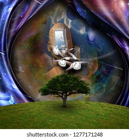 Surrealism. Flow of Time through space. 3D rendering
