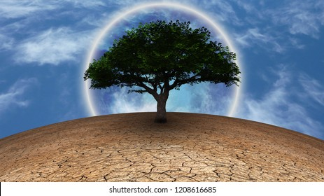 Surrealism. Green tree of life in arid land. Full moon in blue sky. 3D rendering