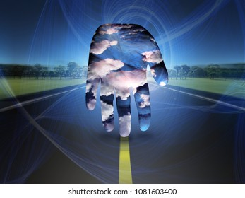 Surrealism. Human's palm with clouds on a road. 3D rendering