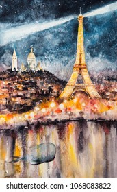Surrealism illustration of Paris at night with Eiffel Tower as lighthouse.Picture created with watercolors.