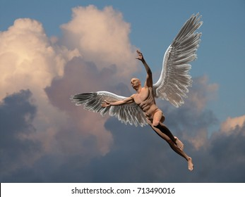 Surrealism. Naked man with white wings flies in the cloudy sky.  3D rendering