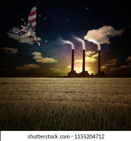 Surrealism. Naked man with wings in US national colors flies above field of wheat. Factory at the horizon. 3D rendering
