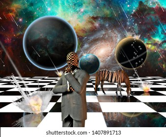 Surrealism. Planetary Armageddon. Massive meteorite - asteroid shower destroy planets. Striped horse and thinking businessman on chessboard. 3D rendering