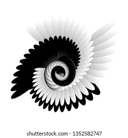 Surrealism. Psychology and philosophy, a sample for printing. Black and white fractal background. Escher style. Images in the style of optical visual illusions - op art.