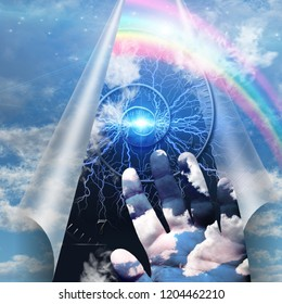 Surrealism. Spiral of time and human's hand behind sky's curtain. 3D rendering