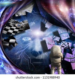 Surrealism. Spirals of time and warped space. Astronaut. Woman's face with lightnings in deep space. 3D rendering