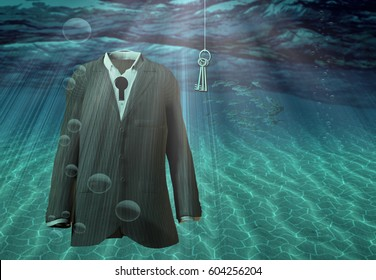 Surrealism. Suit under water. Keys on a fishing line.   3d render.