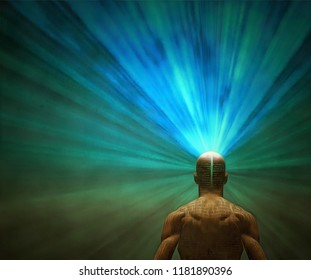 Surrealism. Well built man with rays of light coming out from head. 3D rendering