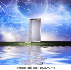 Surrealism. White door symbolizes portal to another dimension. Some elements image credit NASA. 3D rendering