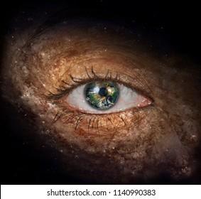Surrealism. Woman's eye with galaxies. Planet Earth Iris. 3D rendering