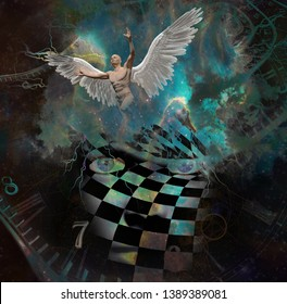 Surrealism. Woman's face with checkered pattern in vivid universe. Spirals of time. Naked man with wings symbolizes angel. 3D Rendering