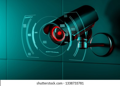 Surveillance camera on wall with some kind of futuristic interface or HUD concept around its lens as it gathers data. 3D rendering