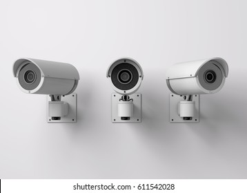 Surveillance CCTV security camera. 3D rendering