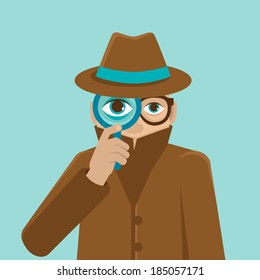 Surveillance and control concept - detective illustration in flat style - big brother is watching you - raster illustration