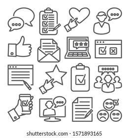 Survey line icons set on white background