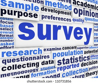 Survey poster concept. Data collection message conceptual design