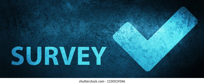 Survey (validate icon) isolated on special blue banner background abstract illustration