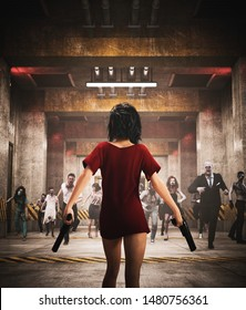 Survivor's girl with pistols fighting with zombies in restricted area,3d illustration for book cover