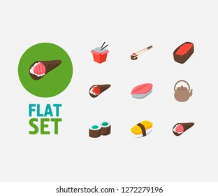 Sushi icons set. Saba nigiri and sushi icons with kappa maki, fast food and sake nigiri. Set of prepared for web app logo UI design.