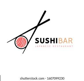 Sushi logo fish food japan restaurant. Japanese seafood logo asian dinner.
