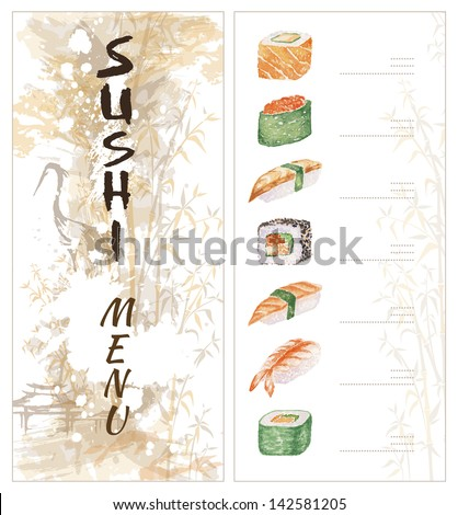 sushi menu template two pages stock illustration 142581205