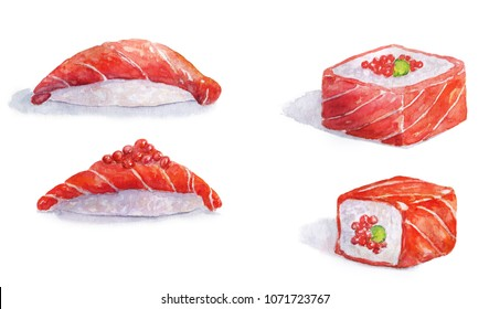 Sushi rolls isolated on white background. Watercolor illustration