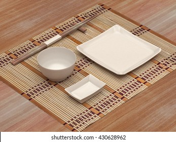Sushi set utensil with white blank for branding design mock up. Set Asian food dishes with Food sticks, plate, saucers, rice bowl, bamboo mat rug. Template on a wood table background. 3d illustration