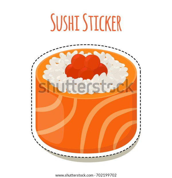Sushi sticker, asian food with fish, rice, seaweed, caviar label. Made in cartoon flat style