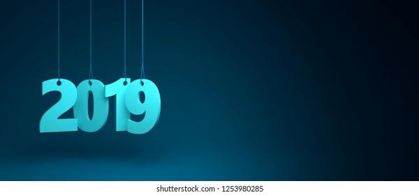 Suspended 2019 3D render on blue background