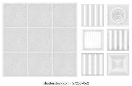Suspended cassette ceilings - Armstrong. Set for a modular ceiling - lamps and ventilation grids. Isolated seamless texture on white background. Top view. 3D rendering.