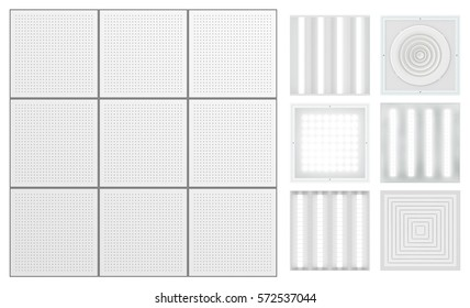 Suspended ceiling with perforated tape. Set for a modular ceiling - lamps and ventilation grids. Isolated seamless texture on white background. Top view. 3D rendering.
