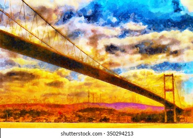 Suspension bridge over Bosphorus in Istanbul colorful oil painting