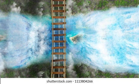 Suspension bridge over the cliff above the waterfalls. 3D image