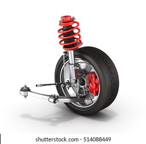 suspension of the car with wheel isolated on white background 3d