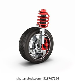 suspension of the car with wheel on white background 3d