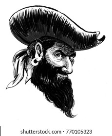 Suspicious bearded captain pirate character. Black and white ink illustration.