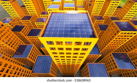 Sustainability Solar Power City 3d Illustration