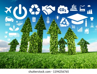 Sustainable development conceptual image. 3d illustration of fresh green leaf arrows growing from grass meadow and pointing toward ecology related icons.