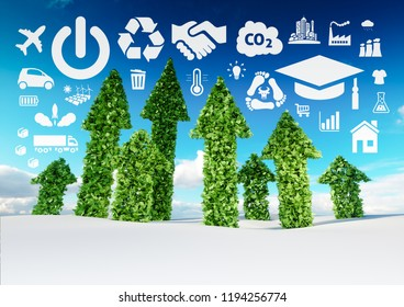 Sustainable development conceptual image. 3d illustration of fresh green leaf arrows growing from snow fieldand pointing toward ecology related icons.