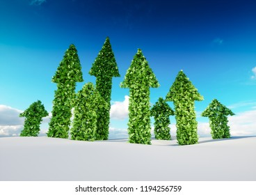 Sustaining eco growth and sustainable development concept. 3d illustration of green leaf arrows growing from white snow field and pointing upward to blue sky.