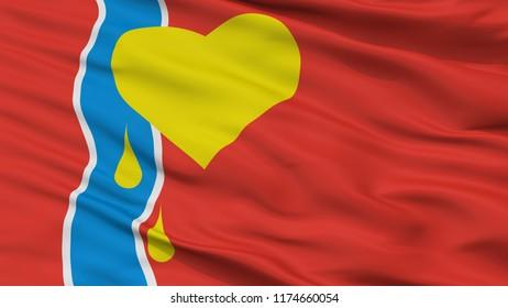 Susuman City Flag, Country Russia, Magadan Oblast, Closeup View, 3D Rendering