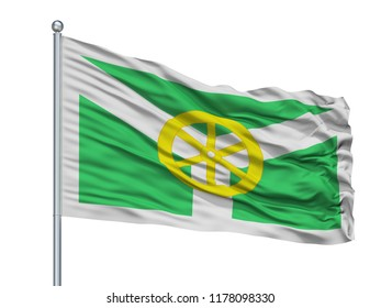 Susuman City Flag On Flagpole, Country Russia, Magadan Oblast, Isolated On White Background