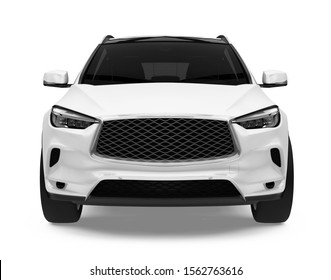 SUV Car Isolated (front view). 3D rendering
